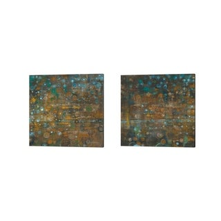 Danhui Nai 'Blue and Bronze Dots B' Canvas Art (Set of 2)