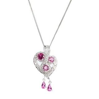 Michael Valitutti 14K White Gold Rubelite, Pink Tourmaline & Diamond Pendant