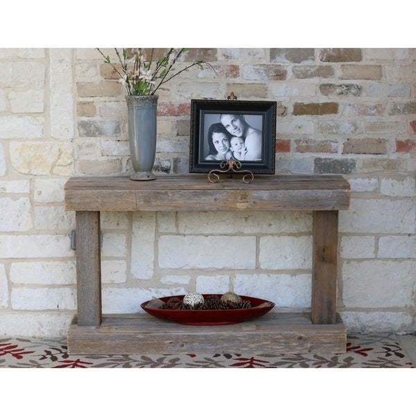 Natural Reclaimed Wood Pedestal Console