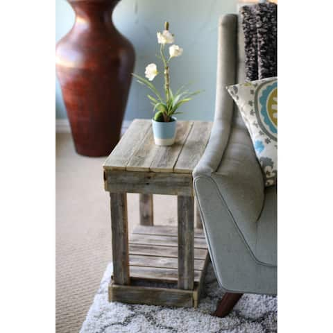 Slatted Reclaimed Wood End Table
