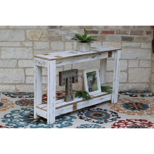 Farmhouse Distressed Off-white Console Table
