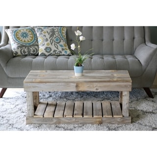Rustic Weathered Reclaimed Wood Slatted Bottom Coffee Table