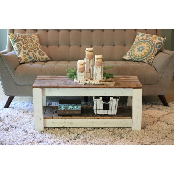 Combo Reclaimed Wood Coffee Table With Shelf