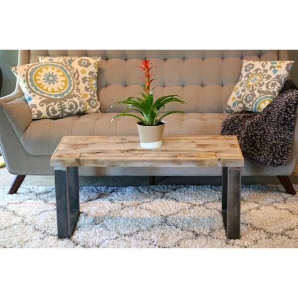 Reclaimed Wood Metal Coffee Table.Natural Reclaimed Wood Metal Industrial Square Leg Coffee Table