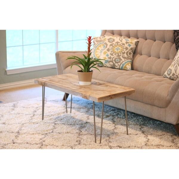 Reclaimed Wood Metal Coffee Table.Industrial Natural Reclaimed Wood Metal Coffee Table