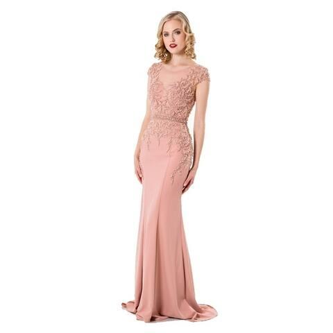 e2f1608928 Terani Couture Women s Cap-Sleeved Beaded Illusion Bodice Long Dress