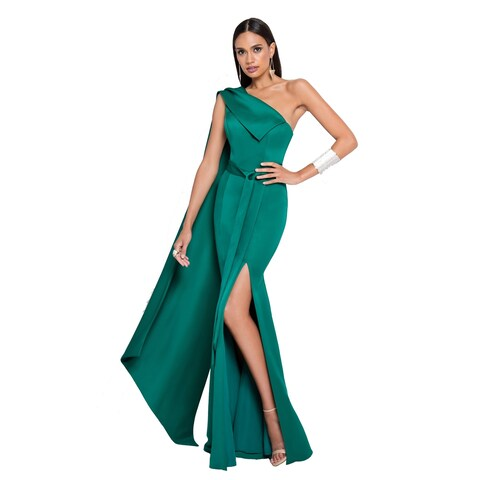 Terani Couture One-Shoulder Cape Green Long Dress