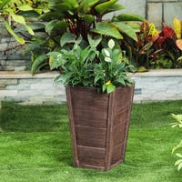 Multi-Brown Tall Tapered Square MgO Planter