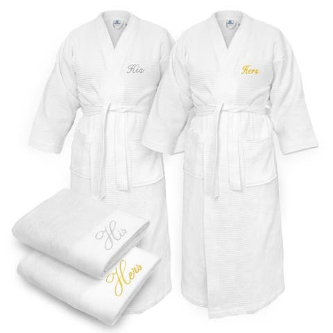 Kaufman - His & Hers Embroidered Waffle Kimono Bathrobes White with 2 Towels Set