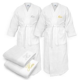 Kaufman - His & Hers Embroidered Waffle Kimono Bathrobes White with 2 Towels Set