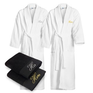 Kaufman - His & Hers Embroidered Waffle Shawl Bathrobes with 2 Black Towels Set