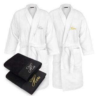 Kaufman - His & Hers Embroidered Sugar Cube Bathrobes White with 2 Black Towels Set