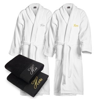 Kaufman - His & Hers Embroidered Velour Shawl Bathrobes with 2 Black Towels Set