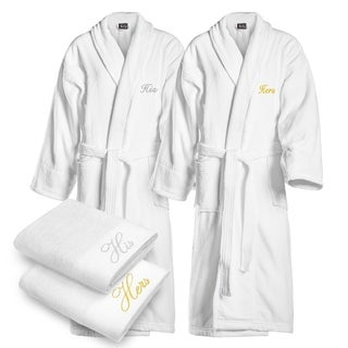 Kaufman - His & Hers Embroidered Velour Shawl Bathrobes White with 2 Towels Set