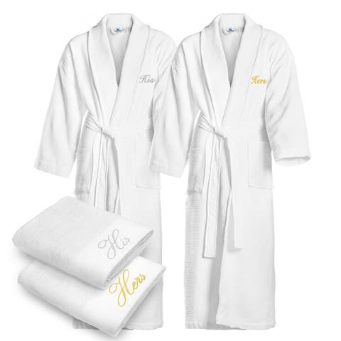 Kaufman - His & Hers Embroidered Waffle Shawl Bathrobes White with 2 Towels Set