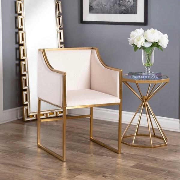 Shop Abbyson Annabelle Ivory Velvet Dining Chair On Sale