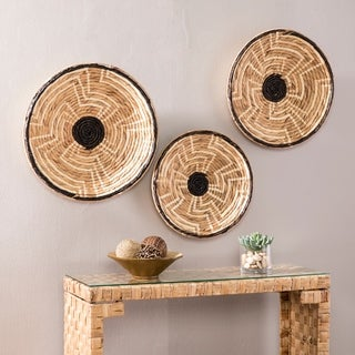 The Curated Nomad Terraza 3-piece Woven Water Hyacinth Wall Decor Set