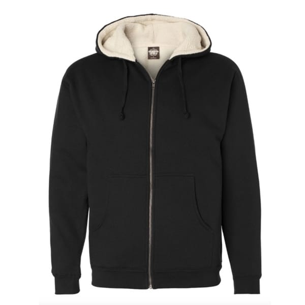 Independent Trading Sherpa Lined Full-Zip Hooded Sweatshirt Black