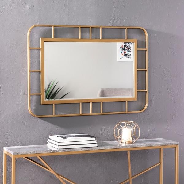 Silver Orchid Ham Decorative Rectangular Wall Mirror - Gold