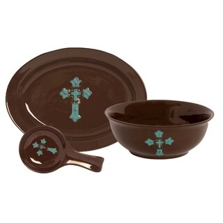 HiEnd Accents Hand Painted Cross 3 Piece Serving  Set