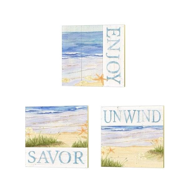 Tara Reed 'Savor the Sea' Canvas Art (Set of 3)