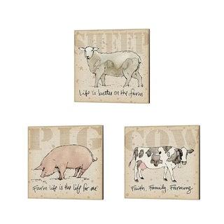 Anne Tavoletti 'Farm Life' Canvas Art (Set of 3)