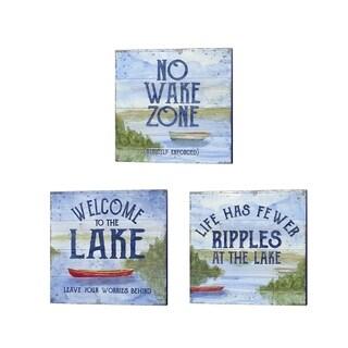 Tara Reed 'Lake Living (no wake zone)' Canvas Art (Set of 3)