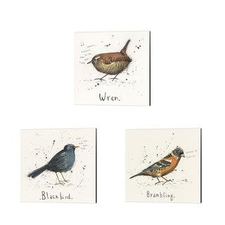 Michelle Campbell 'Wren, Black Bird & Brambling' Canvas Art (Set of 3)