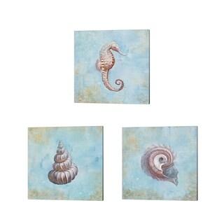 Danhui Nai 'Treasures from the Sea Watercolor' Canvas Art (Set of 3)