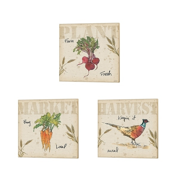 Anne Tavoletti 'Farmers Feast' Canvas Art (Set of 3)