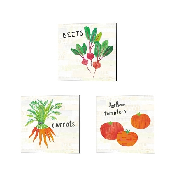 Melissa Averinos 'Kitchen Garden Cream' Canvas Art (Set of 3)