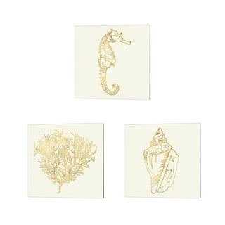 Anne Tavoletti 'Coastal Breeze Shell Sketches' Canvas Art (Set of 3)