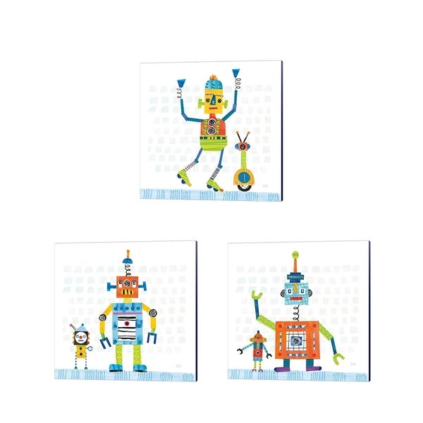 Melissa Averinos 'Robot Party on Square Toys' Canvas Art (Set of 3)