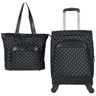 Kenneth Cole Reaction Dot Matrix 2-Piece Set- 20in Polka Dot 4-Wheel Spinner Carry-On Suitcase With Matching 15.6in Laptop Tote