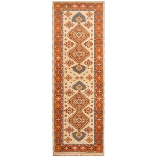 Handmade Kazak Wool Rug (India) - 2'9 x 8'1