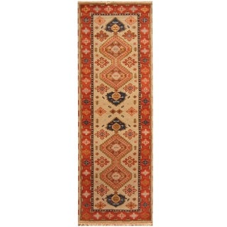 Handmade Kazak Wool Rug (India) - 2'9 x 8'