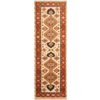 Handmade Kazak Wool Rug (India) - 2'9 x 8'2
