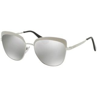 Prada PR51TS Silver Frame Silver Mirror 56mm Lens Sunglasses
