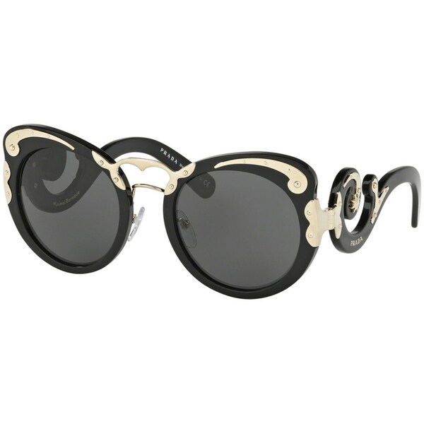 63b12ae439e Prada PR07TS Minimal Baroque Black   Gold Frame Grey 54mm Lens Sunglasses