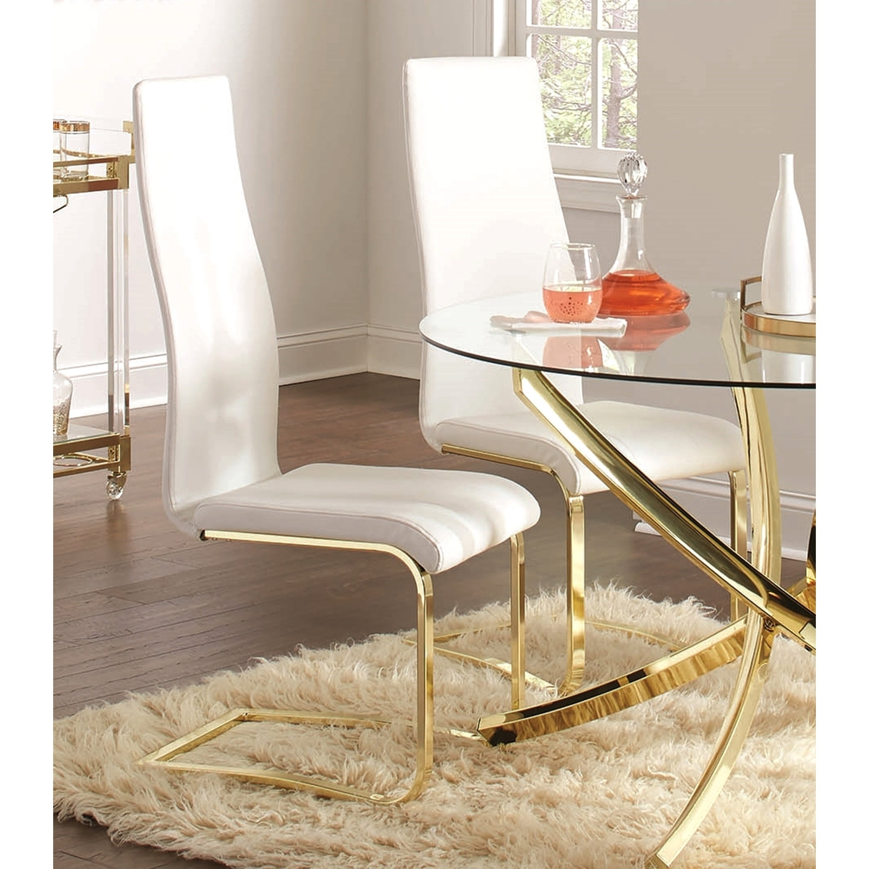 Modern White Upholstery And Gold Tone Metal Dining Chairs Set Of 4