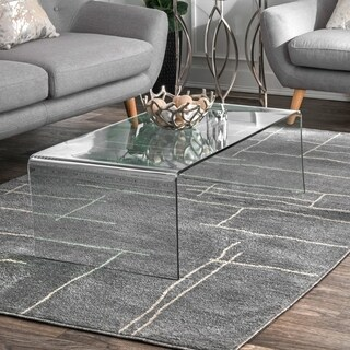 nuLOOM Grey Contemporary Abstract Graphic Geo Sasha Stripped Area Rug