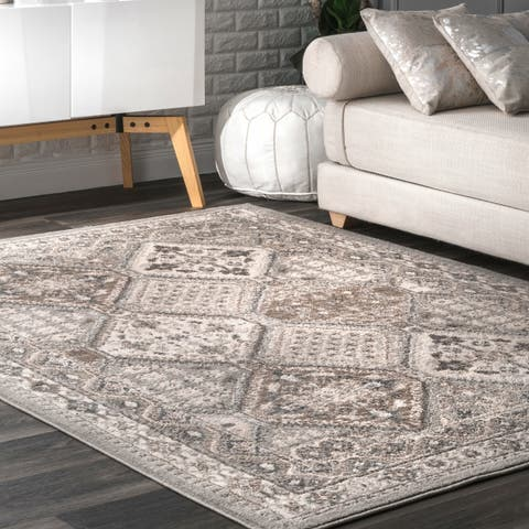 Porch & Den Sunset Boulevard Grey Vintage Border Area Rug