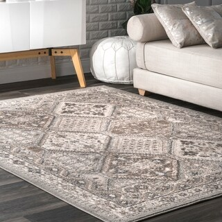 nuLOOM Grey Transitional Vintage Melange Sasha Etoile Border Area Rug