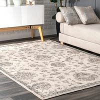The Curated Nomad Parrish Grey Botanical French Toile Area Rug