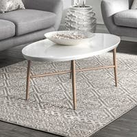 nuLOOM Grey Transitional Charming Fiona Damask Trellis Stripped Area Rug