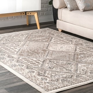 nuLOOM Beige Transitional Charming Georgia Floral Geo Stripped Border Area Rug