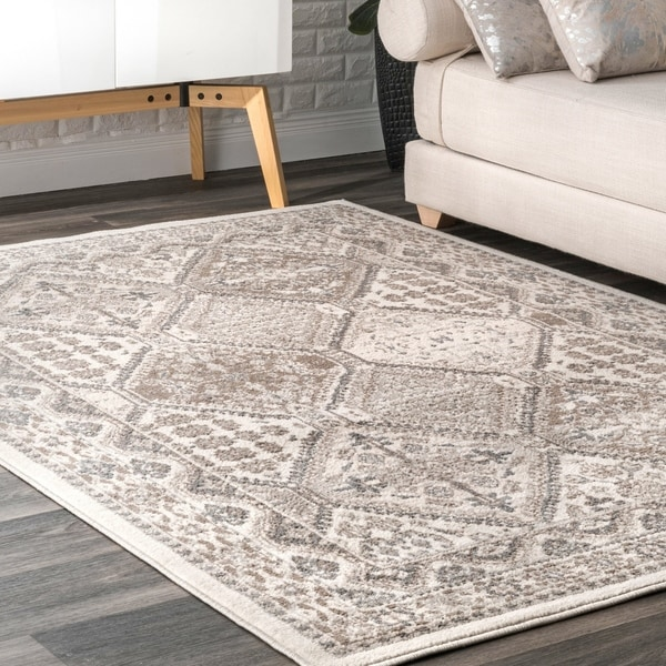 f8c2efcd166 nuLOOM Beige Transitional Charming Georgia Floral Geo Stripped Border Area  Rug