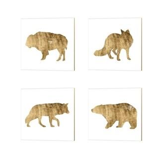 Grace Popp 'Brushed Gold Animals' Canvas Art (Set of 4)