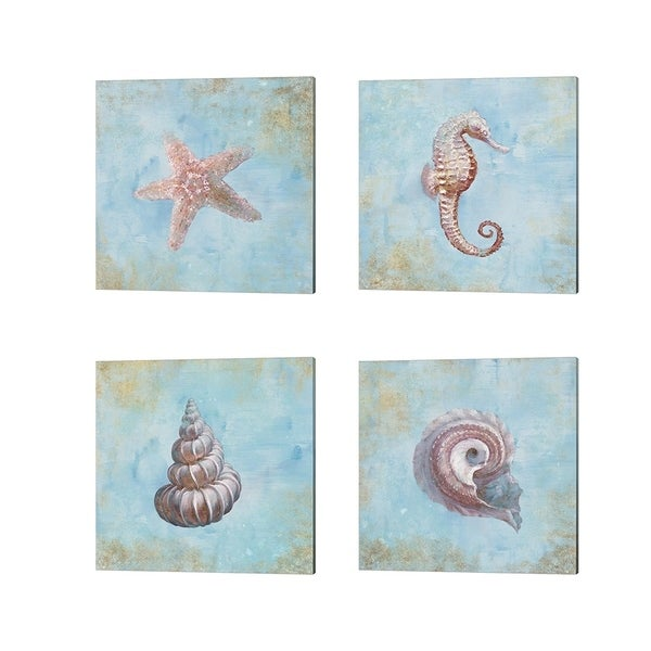 Danhui Nai 'Treasures from the Sea Watercolor' Canvas Art (Set of 4)