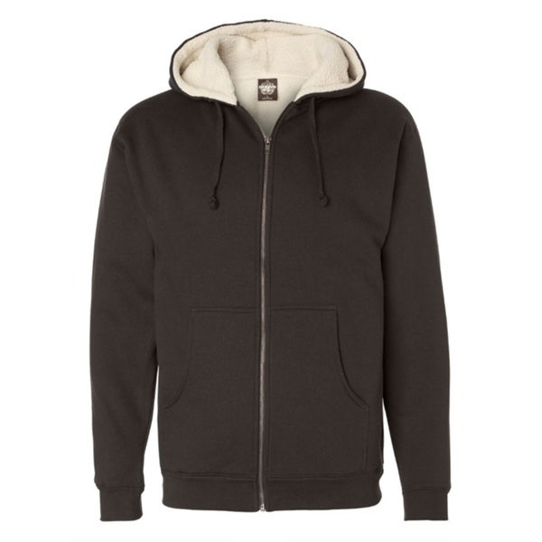 Independent Trading Sherpa Lined Full-Zip Hooded Sweatshirt Cocoa